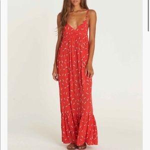 Billabong Red Floral Surplice Maxi Dress